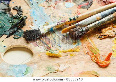 Few Paintbrushes On Oils Artistic Pallette