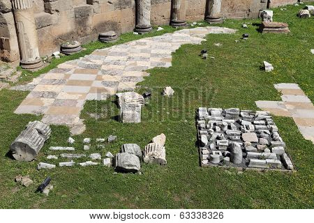 Ancient Ruins Of Imperial Forum In Rome, Via Dei Fori Imperiali.