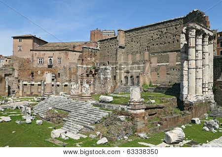 Rome - April 06: Ancient Ruins Of Imperial Forum In Rome, Via Dei Fori Imperiali. April 06, 2014 In