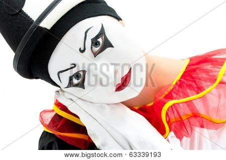 Isolated image of a mime Pierrot on white