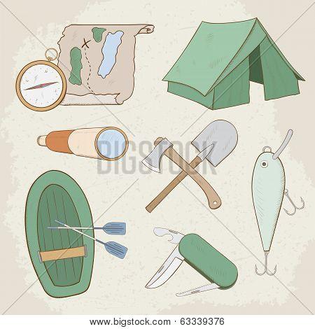 Camping hand drawn vector icons