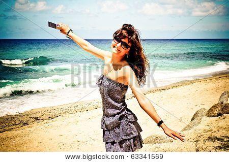 Happy Girl On Santorini, Greece
