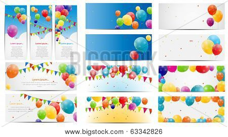 Color Glossy Balloons Card Mega Set Vector Illustration