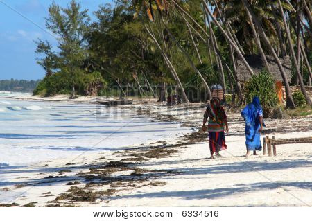 Two Zanzibar Women On Sandy Beach