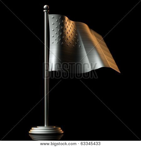 Flag Of USA made of Tin-Plate Material on black background