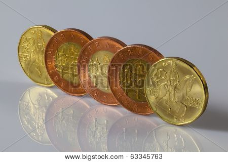 Czech Coins Standing On The Glass Table
