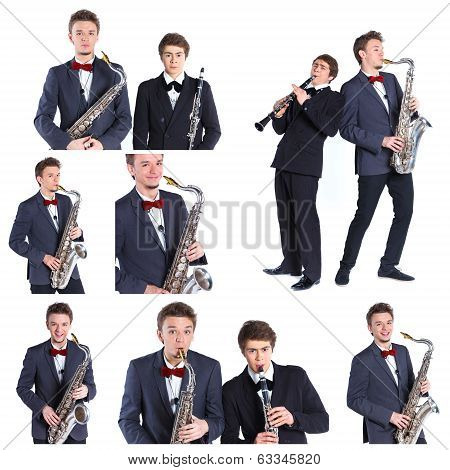Boys with saxophone and clarinet