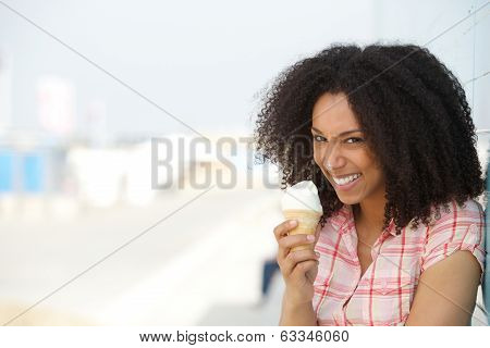 Young Woman With Ice Cream On Nose