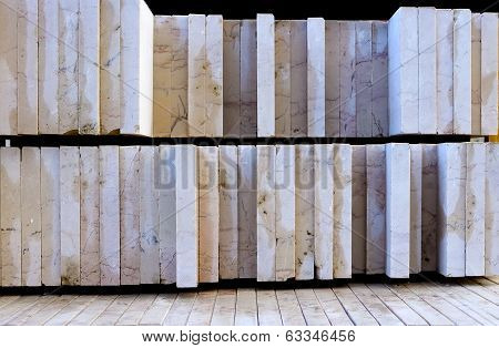 stone slabs cut and polished on a pallet