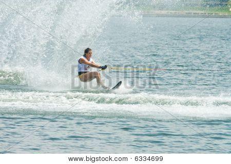 Waterski Women Slalom In Action