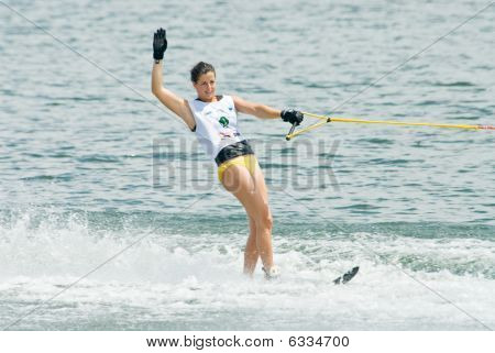Women Slalom Waterski In Action