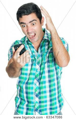 Agitated man yelling at his mobile phone and gesturing with his hands (isolated on white)