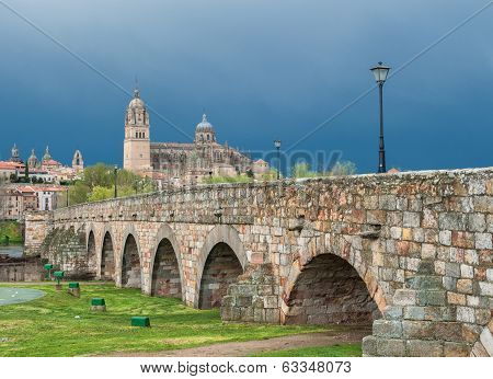 Panorama Of Salamanka With Roman Bridge, Spain