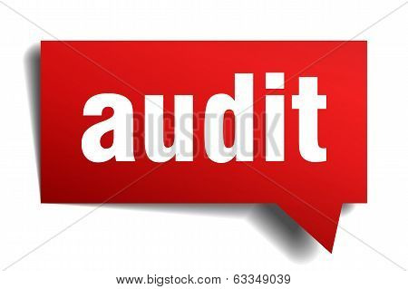 Audit Red 3D Realistic Paper Speech Bubble Isolated On White
