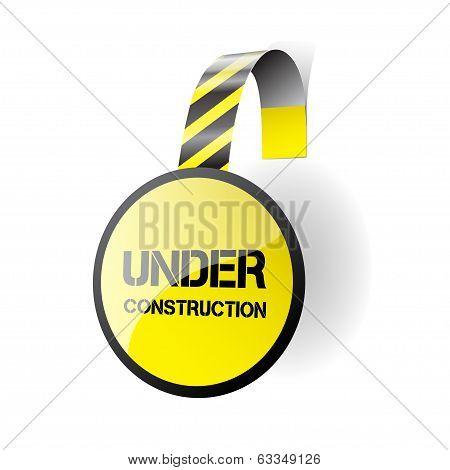 Under construction - wobbler on a white background