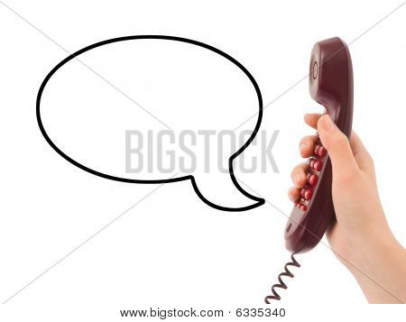 Hand With Phone And Speech Bubble