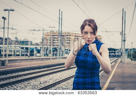 Pretty Girl Ready To Fight Along The Tracks