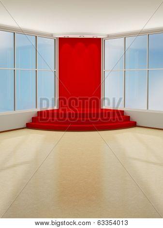 Illuminated Stage Podium With Red Carpet. 3D Modern Interior.