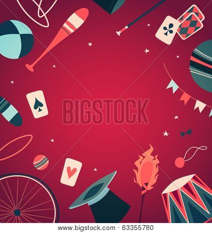 Circus props. Vector illustration.