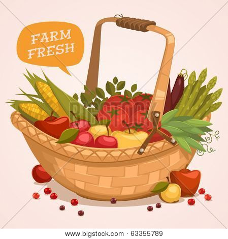 Fruit Basket. Farm fresh. Retro style vector illustration.