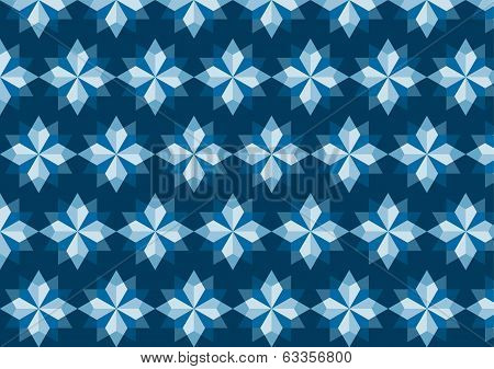 Abstract Blue Rhomboid Pattern On Dark Blue Background