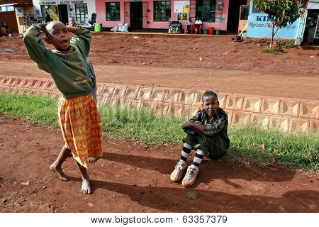 African Children Playing Outdoor, In A Small Tanzanian Town