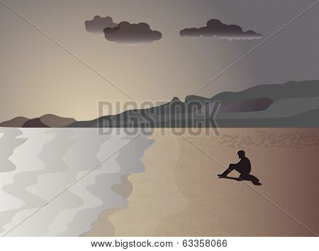 The man on the shore of the sea in meditation. Vector illustration
