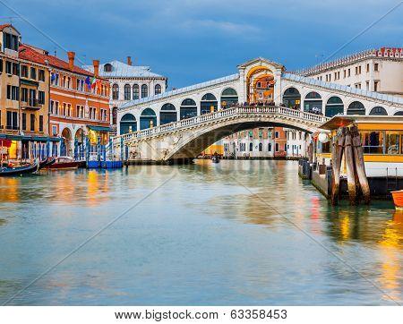 Rialto Bridge at dusk, Venice, Italy