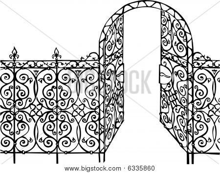 ornamental gate and fence illustration