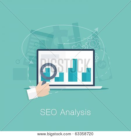 SEO analysis process vector concept with cool flat colors