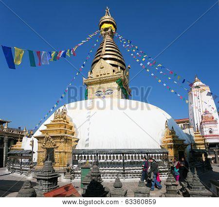 Nepal, Kathmandu - Dec 16 Tourists And Nepalese Walking Around Swayambhunath Stupa During Festival -