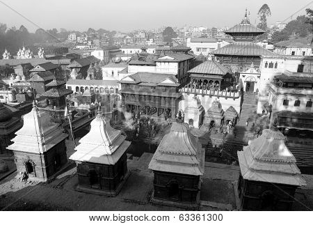 Black And White View Of Pashupatinath - Hindu Temple Situated On The Bank Of Holy Bagmati River In K