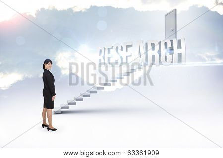 The word research and smiling businesswoman against white steps leading to closed door
