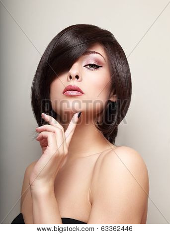 Sexy Thinking Alluring Girl With Short Black Hair