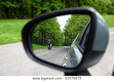 Forest Road Reflection,  Rearview Car Driving Mirror View Green Forest Road