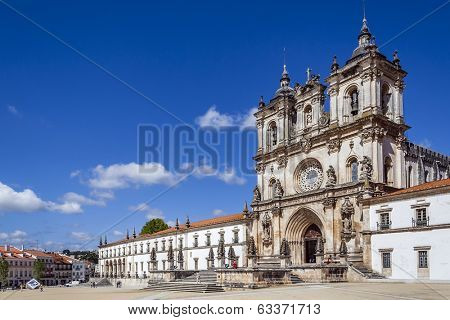 Alcobaca, Portugal - July 17, 2013: Alcobaca Monastery, a masterpiece of the Gothic architecture. Cistercian Religious Order. Unesco World Heritage. Portugal.