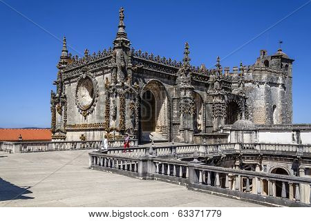 Tomar, Portugal - July 18, 2013: Top of Dom Joao III Cloister (Renaissance masterpiece) in the Templar Convent of Christ in Tomar, Portugal. UNESCO World Heritage