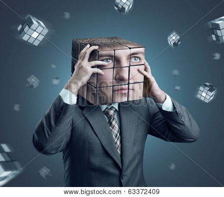 Businessman with rubik cube head