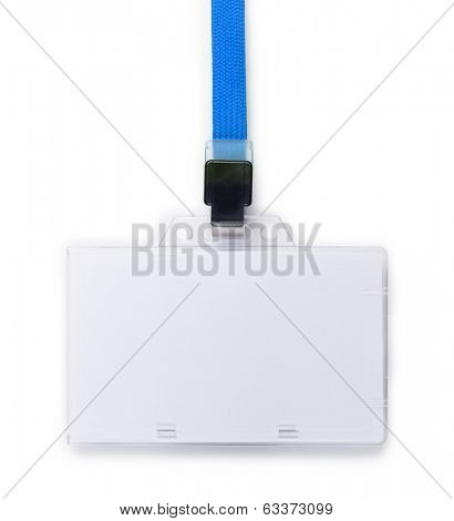 Blank ID or security card with blue neck strap isolated on white.