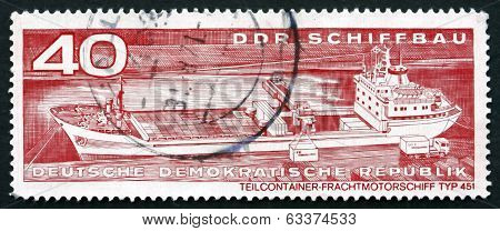 Postage Stamp Gdr 1971 Container Cargo Ship