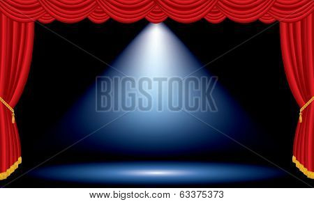 vector one blue spot on red wide stage