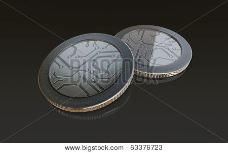 Digital Silver Coins Black