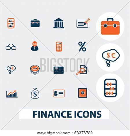 finance, bank, money icons, signs, elements set, vector
