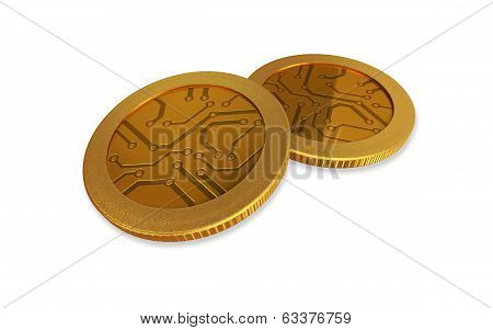 White Digital Gold Coins