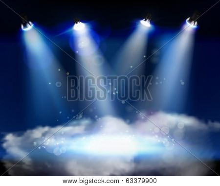 Smoke on the stage. Vector illustration.