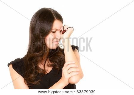 Distraught Tearful Young Woman