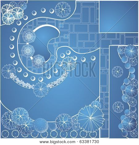 Vector blueprint of landscape architectural project, garden plan with tree symbol