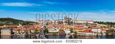 Panorama of Prague: Mala Strana,  Charles bridge and Prague castle from Old Town bridge tower over Vltava river. Prague, Czech Republic