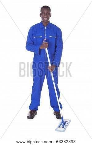 Male Worker Holding Mop