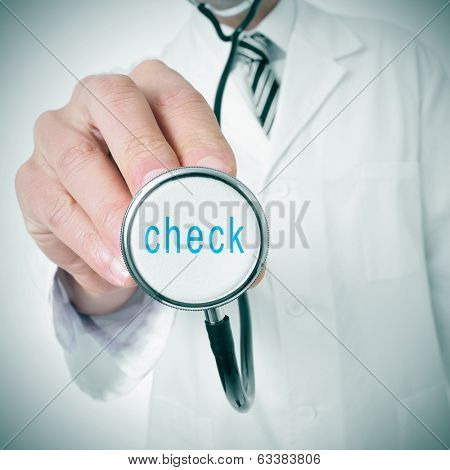 doctor with a stethoscope with the word health written in it